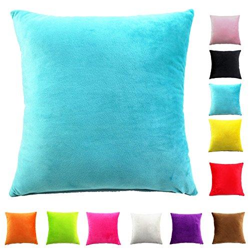 Easondea Housses de coussin en Couleur unie peluche Géométrique Throw Pillow Case Taie d'Oreiller Carré chambre Sofa Décoration Turquoise 60X60CM