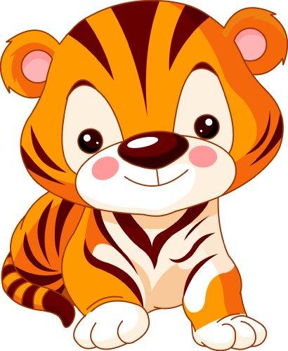 Michael & Rene Pflüger Barmstedt 8 x 6,5 cm Konturschnitt - Aufkleber Baby Tiger Sticker Autoaufkleber fürs Auto Motorrad Handy Laptop Kinder Tiger Aufkleber