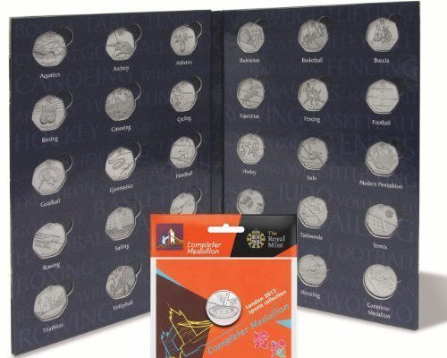 "Compare Prices for Lighthouse ""PRESSO"" Olympic 50p Sports Coin Album/Folder + ""1 x New Sealed Completer Medallion"" Online"
