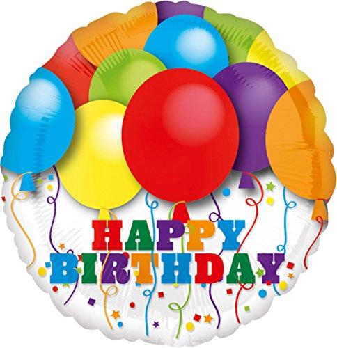 amscan Bright Ballons Birthday Folienballon, Folie, Mehrfarbig