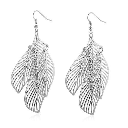 XINJIA Damen-Ohrringe, Blätter-Form, einfache Hohle, mehrschichtige Blätter-Ohrringe