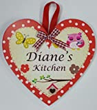 DIANE Named personalised Heart Shaped Kitchen Magnetic Plaque By Sterling Effectz