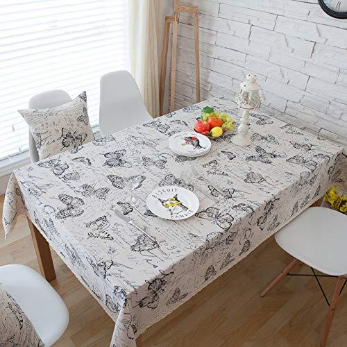 (JJHR Tischwäsche Rustikale Baumwolle Und Leinen Western Tischtuch Suya Tischdecke Tischdecke Tuch Brief Schmetterling)