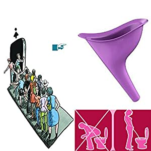 2X Frauen Urinal Weibliche Urinal Toilette unterwegs Frauenurinal Reisen Outdoor Camping Silikon Wasserlassen Stand Up & Pee, lila