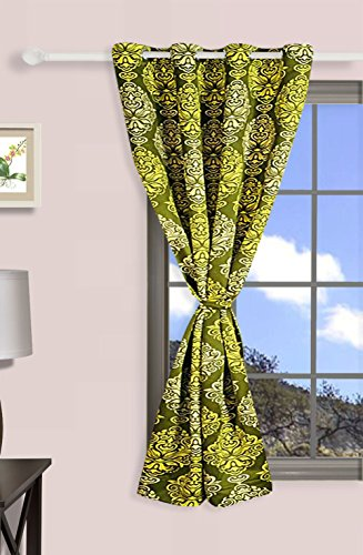 Swayam Premium Printed Sigma Faux Silk Blackout Window Curtain with Eyelets - 48