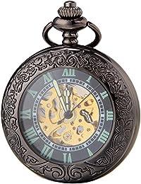 SEWOR Vintage negro lupa para hombre reloj de bolsillo luminoso caso mecánico auto viento