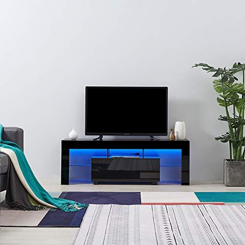 Panana Anaelle Meuble TV avec LED en Verre sur Salle de Séjour, Salon et Chambre à Coucher etc, Taile: 130 x 35 x 45 cm, Poids: 22kg, Brun