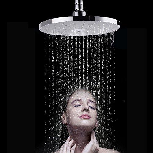 8-Zoll Runde Duschkopf Regendusche,Morderne Luxus Regenduschkopf,Regenbrause mit Anti-Kalk-Düsen poliert Spiegeleffekt hochglanz Einbauduschkopf - Verchromt für Badezimmer