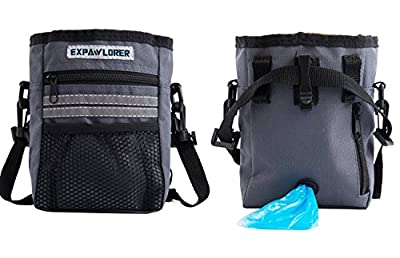 PUPTECK Reflective Dog Puppy Walking Treat Bag Training Pouch Bag With Adjustable Belt And Pet Waste Bags Despenser