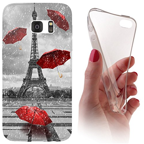 Samsung Galaxy J7 (Modell 2016) J710 Softcase Hülle Cover Backkover Softcase TPU Hülle Slim Case für Samsung Galaxy J7 (Modell 2016) J710 (1107 Eifelturm Paris Frankreich Rot Grau)