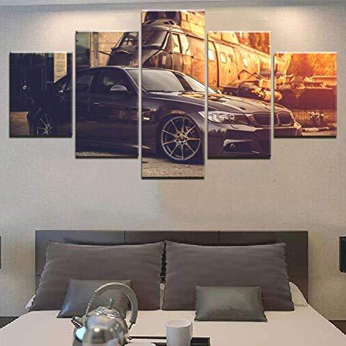 5 Stück BMW Car and Classic Retro Aircraft Malerei Für Moderne Zuhause Kunst Dekoration HD Leinwand Druck,B,30×50×2+30×70×2+30×80×1 -