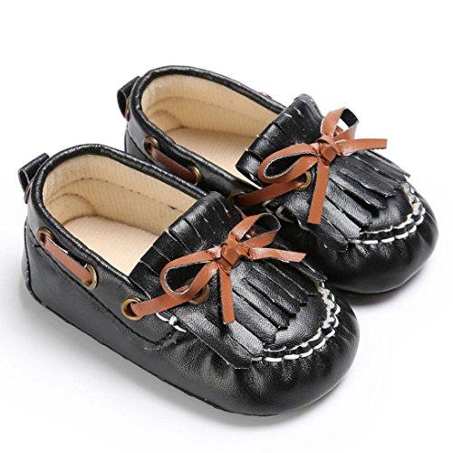 OverDose Unisex-Baby weiche warme Sohle Leder / Baumwolle Schuhe Infant Jungen-Mädchen-Kleinkind Schuhe 0-6 Monate 6-12 Monate 12-18 Monate X-Schwarz-PU Leder