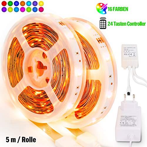 D Licht Streifen SMD 5050 Leds mit Fernbedienung, Netzteil Led stripes Lichtband Leiste Band Beleuchtung ()