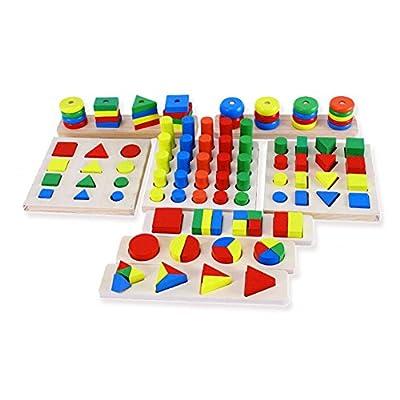 Highdas 8 Juegos de Montessori Series Ense?anza Ayudas Puzzle Juguetes de madera Placa multicolor Graphic Board por Highdas network technology Co., Ltd