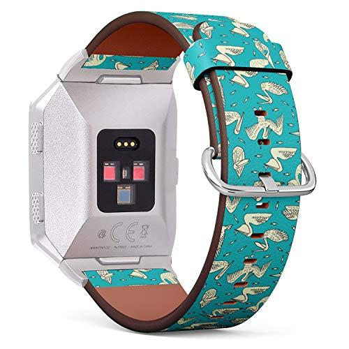 Art-Strap Kompatibel mit für Fitbit Ionic - Uhrenarmband Ersatzarmbänder Lederarmband mit Edelstahl-Verschluss und Adapter (Vögel Pelikane Fische) Pelikan-adapter