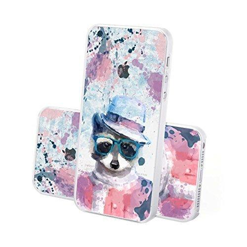 FINOO ® | Iphone 6 / 6S Hardcase Handy-Hülle | Transparente Hart-Back Cover Schale mit Motiv Muster | Tasche Case mit Ultra Slim Rundum-schutz | stoßfestes dünnes Bumper Etui | Wolf Wiesel