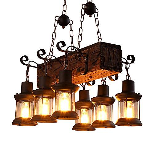 Murano Anhänger Beleuchtung (WanDun Vintage Industrial Wind Restaurant American Country Kreative Persönlichkeit Aus Massivem Holz Dekorative Kronleuchter)