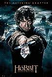 The Hobbit - BOTFA - Bilbo - Schlacht der 5 Heere Plakat Poster Druck - Größe 61x91,5 cm + 2 St Posterleisten Holz 61 cm