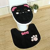 NMDSWEZ Cute Cartoon Toilettendeckel Kissen Toilette Dreiteilige Toilette U Kissen Bodenmatte, Drei Stück Schwarze Kätzchen