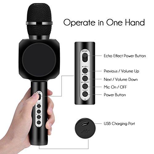 Drahtlose Bluetooth Karaoke Mikrofon Lautsprecher HURRISE Echo Rauschunterdrückung Mikrofon mit Aufnahme von Sprach für Smartphone iPad PC (Schwarz) - 6