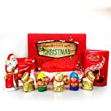 Lindt Santa And Friends Ultimate Christmas Selection Gift Box By Moreton Gifts Lindt Santa , Gold Bear , Mini Helpers , Lindeor Truffles
