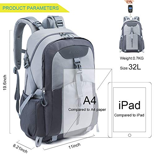 51P3Ywfhd5L. SS500  - Casual Backpack, Water Resistant Slim Lightweight Laptop Rucksack For Men/Women, Large Travel/Hiking/Cycling Daypacks With Earphone Hole, College/High School Bags For Boys/Girls -32L, Grey