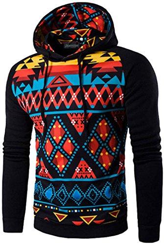 jeansian Herren Casual Ethnic Style Hooded Pullover Hoody Hoodies Sweatshirt Sports Top 88G0 88F5_Black