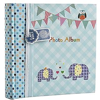 Großes, babyblaues Einsteckalbum für 200 6 x 4 Babybilder von Arpan, Elefantenkinder, ideales Geschenk