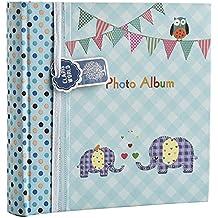 Álbum de fotos grande para bebés y niñas, con apartados para notas, espacio para 200 fotos de 15,2 x 10,2cm, diseño con elefantes, ideal para regalo, color azul