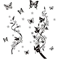 iTemer Vinilos decorativos pared dormitorio Stickers Decoracion pared Pegatinas pared decorativas Un hermoso regalo Mariposa negra Flores 115 * 110CM 1 set