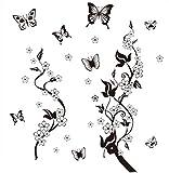 Hosaire Stickers Muraux de Papillons DIY Transparent Amovible Autocollants Décoration Murale pour Chambre Maison Noir