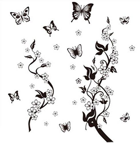 iTemer 1 set Vinilos decorativos pared dormitorio Stickers Decoracion pared Pegatinas pared decorativas Un hermoso regalo Mariposa negra Flores 50cm * 70cm