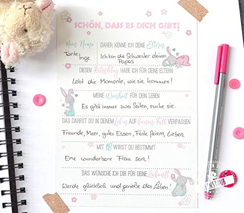 Gästebuch Taufe Geburt Baby Shower 30 Gästebuchkarten mit Fragen an Familie & Freunde rosa Hase, 21cm x 14,8cm