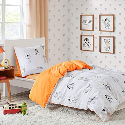 Kinder Bettwäsche 135x200cm Monster 100% Baumwolle 2-teilig Bettbezug Kopfkissenbezug 80x80cm mit Karo Renforcé Mädchen Jugendliche Teenager Kinderbett Monster Mash (Teenager-mädchen Quilts)