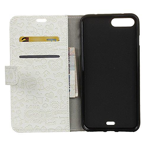 Custodia per iPhone 7 Plus,Gray Plaid Design [Shock-Absorption] PU Pelle Flip Card Holder Portafoglio Wallet Case Cover per iPhone 7 Plus Caso - Nero Bianca