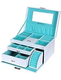 Songmics Boîte à bijoux coffrets maquillage beauty Case avec tiroir et miroir JBC211W