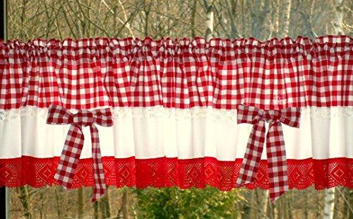 Materialmix Bistrogardine Bauernkaro rot-weiß mit Schleifen