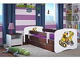Kocot Kids Kinderbett Jugendbett 70x140 80x160 80x180 Wenge mit Rausfallschutz Matratze Schublade und Lattenrost Kinderbetten für Mädchen und Junge Bagger 180 cm