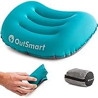 OutSmart Cuscino Gonfiabile da Campeggio – Cuscino leggero e morbido, assicura un sonno confortevole in viaggio, in aereo o in Campeggio, per testa e collo – Pesa solo 2.75 oz