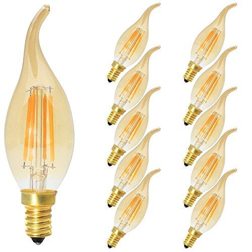 10 Stück C35 4W Retro Dimmbar Glühfaden LED Kerze Lampe, 2700K Warmweiß 400 Lumen, Ersatz für...