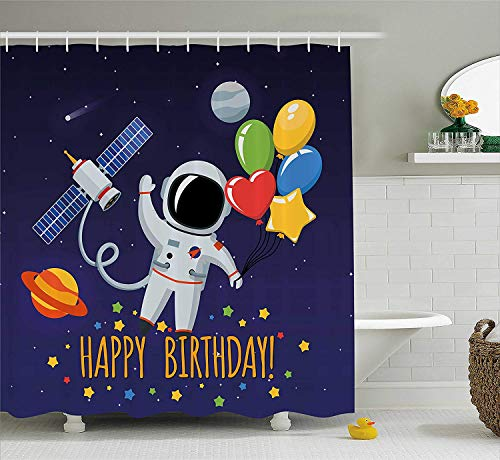 BUZRL Birthday Decorations for Kids Shower Curtain, Space Lover Astronaut with Party Balloon on Blue Backdrop, Fabric Bathroom Decor Set with Hooks, 72x72 inches Extra Long, Multicolor