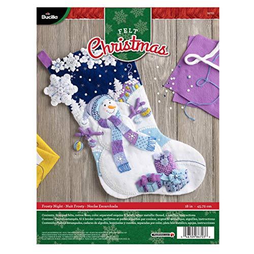 Bucilla 86703Frosty Night Weihnachtsstrumpf-Applikation aus Filz, Mehrfarbig (Weihnachtsstrumpf Filz Kit)