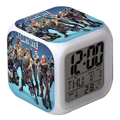7 Colores LED Fortnite Digital Despertador LCD Muestra Hora, Fecha, Temperatura Mejor Regalo para Los Niños Cumpleaños Navidad o Amantes de los Juegos (7)