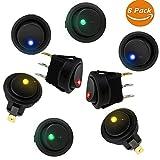 Gifort LED-Schalter Kippschalter, DC 12 V 20A Car Boot Truck Trailer, Auto Boot Lkw-anhänger Lichter Schalter Toggle Ein-Ausschalter mit Rot SPST Schalter mit 4 Farbe LED Dot Licht
