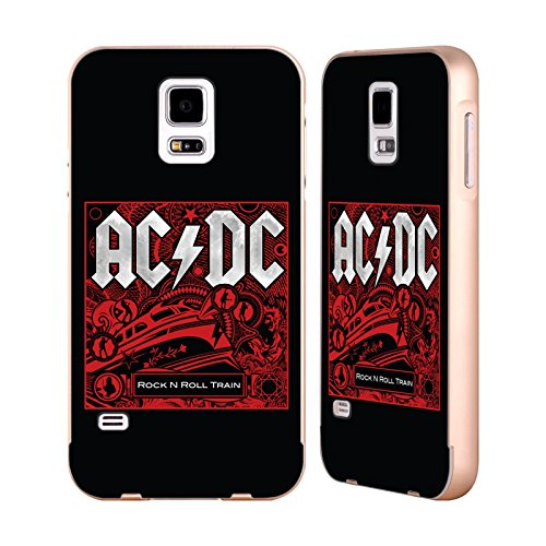 Head Case Designs Offizielle AC/DC ACDC Rock N Roll Train Albumgrafik Gold Rahmen Hülle mit Bumper aus Aluminium für Samsung Galaxy S5/S5 Neo (Case Aluminium-train)