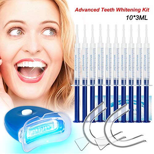 Teeth Whitening Kit Dental Bleaching Professionelle Zahnaufhellung Kit Teeth Bleaching Kit Zahn Bleaching-10x 3ML Whitening GEL, 1x LED Light, 2x Mouth Trays, 1x Lab Dip & 5x Free Teeth Wipe, MEHRWEG