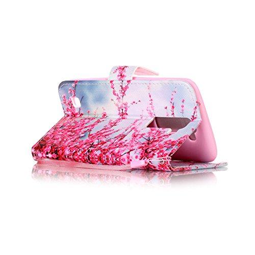 Coque LG K7, Aeeque® Housse Étui en PU Cuir Bumper Flip Cover Bookstyle Support Cartes Slots Joli Fleur de Paon Bleu Ultra Mince Léger Fermeture Aimantée Étui pour LG K7 Fleur Rose