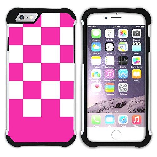 Graphic4You Kariert Muster Design Hart + Weiche Kratzfeste Hülle Case Schale Tasche Schutzhülle für Apple iPhone 6 Plus / 6S Plus (Aqua Blau) Neon Rosa