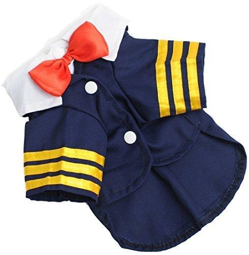 Haustier Hund Katze Smart Marineblau Piloten Matrose Anzug Job Party Kostüm Kleid Outfit Kleidung Kleidung S-XXL - Blau, - Job-kostüm