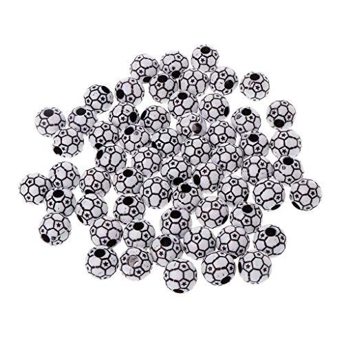 Carry stone 60 Stücke 12mm Runde Schwarz Weiß Fußball Fußball Muster Spacer Lose Perlen für Charms Halskette Armband Schmuck Machen DIY Handgemachtes